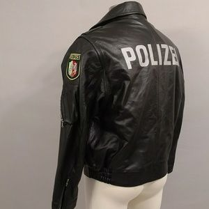 Polizei Black Leather Jacket Vintage 90's Moto c48